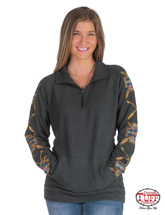 Cowgirl Tuff Forest Green Fleece Cadet-Zip Pullover With Earth Tone Graphics