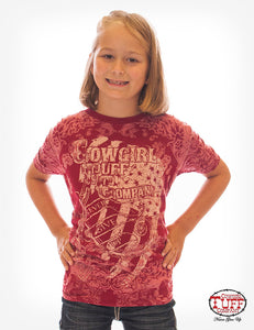Cowgirl Tuff Girl's Red Vintage Bandana Tee With American Flag Print