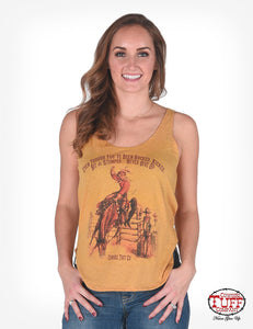 Cowgirl Tuff Gold Dual-Blend Racerback Tank With Hi-Cut Side-Seams And Vintage Rodeo Graphic