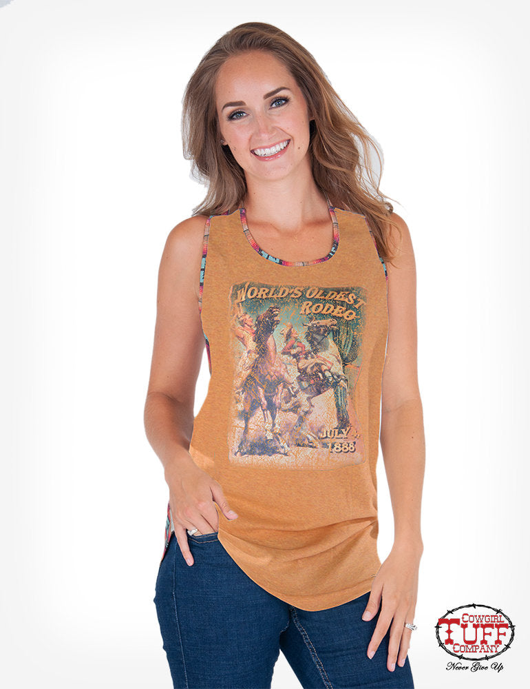 Gold Tank With Coral And Turquoise Aztec Back And Vintage Rodeo Poster Print