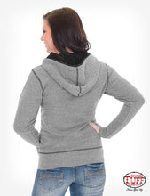 Gray Terry Zip Hoodie With Branded Embroidery, Sherpa Lined Hood, And Thumb Hole Detail