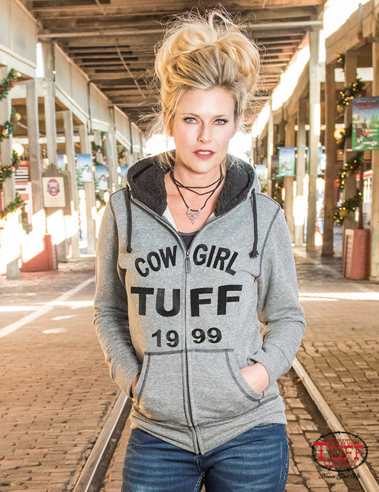 Cowgirl Tuff Gray Terry Zip Hoodie With Branded Embroidery, Sherpa Lined Hood, And Thumb Hole Detail