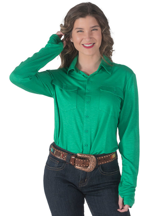 Cowgirl Tuff Green Sport Jersey Pullover Button Up