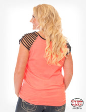 Hot Coral And Black Strappy Tee With Never Give Up™ Embroidery
