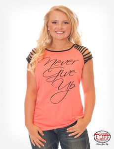 Cowgirl Tuff Hot Coral and Black Strappy Tee With Never Give Up™ Embroidery