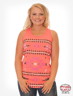 Cowgirl Tuff Hot Coral Racerback Tank With Aztec Print