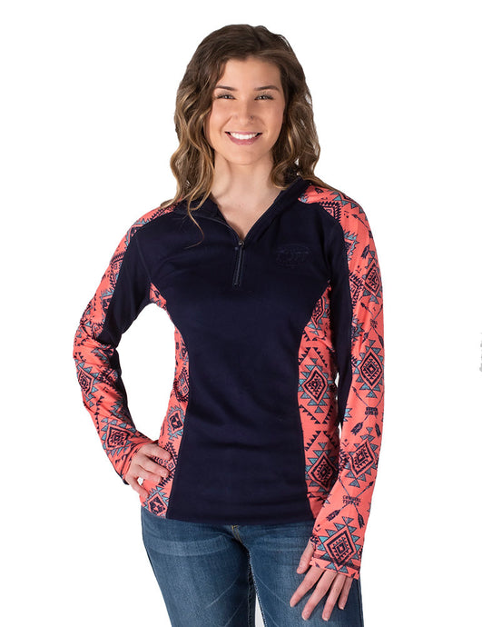 Cowgirl Tuff Coral Aztec Print And Indigo Pullover