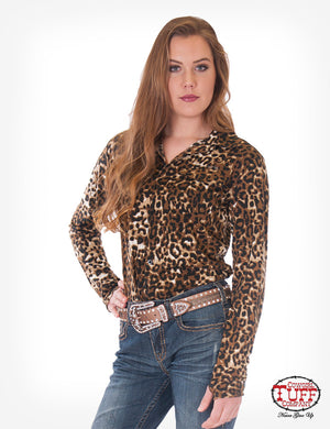 Cowgirl Tuff Leopard Jersey Pullover Button Up