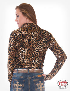 Leopard Jersey Pullover Button Up