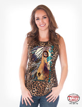 Cowgirl Tuff Leopard Print Flowy Tank With Free Spirited Horse Print And Knotted Back