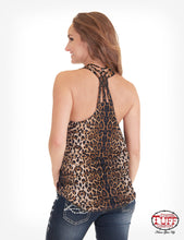 Leopard Print Flowy Tank With Free Spirited Horse Print And Knotted Back