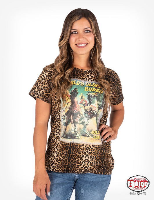 Cowgirl Tuff Leopard Print Short Sleeve Crew Neck Tee With Rodeo Poster Print