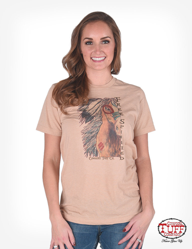 Cowgirl Tuff Light Brown Tri-Blend Short-Sleeve Crew-Neck Tee With Spirit Horse Graphic