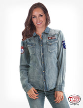Cowgirl Tuff Lightweight Medium Wash Denim Button-Down With Patches