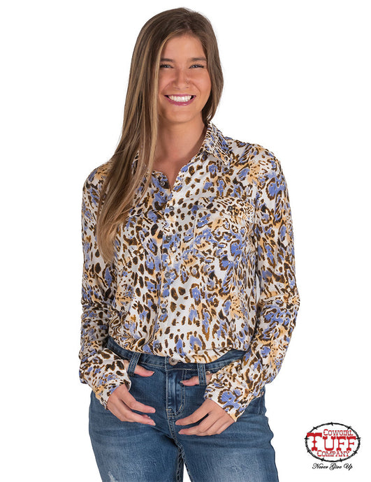 Cowgirl Tuff Multicolored Leopard Print Sport Jersey Button-Up Pullover