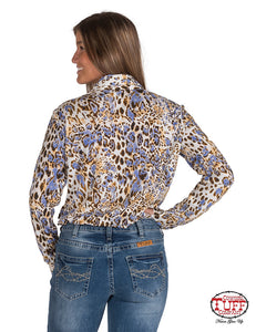 Multicolored Leopard Print Sport Jersey Button-Up Pullover