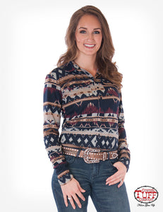 Cowgirl Tuff Navy Aztec Sport Jersey Pullover Button Up