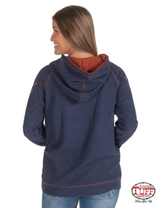 Navy Pullover Sweatshirt W-Earth Tone Sleeve Print And Chest Embroidery W-Rust Hood Lining