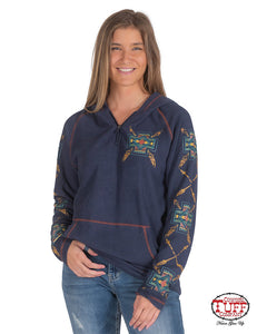 Cowgirl Tuff Navy Pullover Sweatshirt W-Earth Tone Sleeve Print And Chest Embroidery W-Rust Hood Lining
