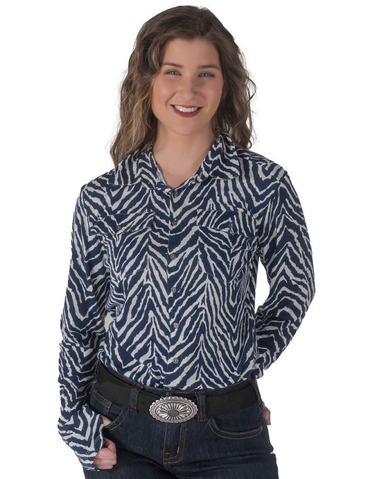 Cowgirl Tuff .  Pullover Button-Up (Navy Zebra Print)
