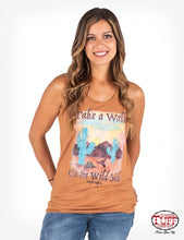 "Cowgirl Tuff Orange Racerback Tank With ""Walk On The Wild Side"" Graphic"
