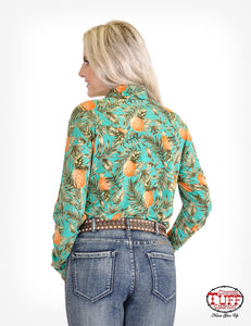 Pineapple Print Sport Jersey Pullover Button-Up