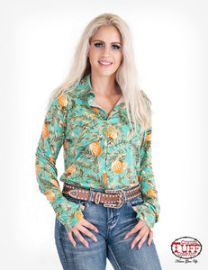 Cowgirl Tuff Pineapple Print Sport Jersey Pullover Button-Up
