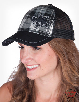 Cowgirl Tuff Plaid Trucker Cap With Buckin' Horse Patch