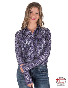 Cowgirl Tuff Purple Snakeskin Sport Jersey Pullover Button-Up