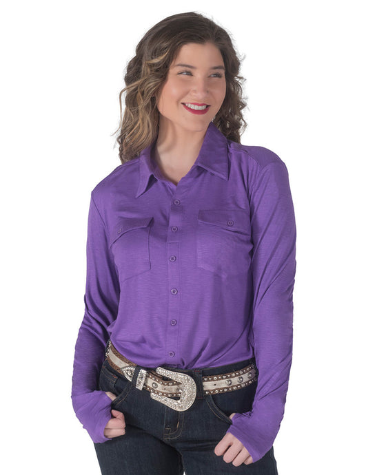 Cowgirl Tuff Purple Sport Jersey Pullover Button Up