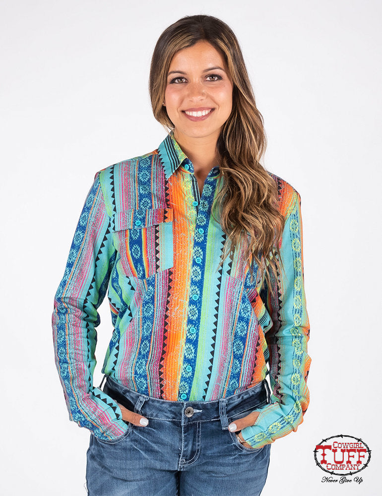 Cowgirl Tuff Rainbow Aztec Print Sport Jersey Pullover Button-Up