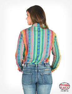 Rainbow Aztec Print Sport Jersey Pullover Button-Up