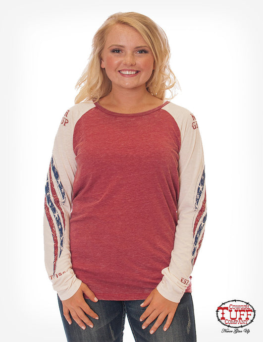 Cowgirl Tuff Red And Cream Burnout Long Sleeve Tee Wth Raglan American Flag Print Sleeves