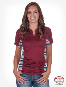 Cowgirl Tuff Red And Serape Lux Athletic Jersey Cadet Zip Tee
