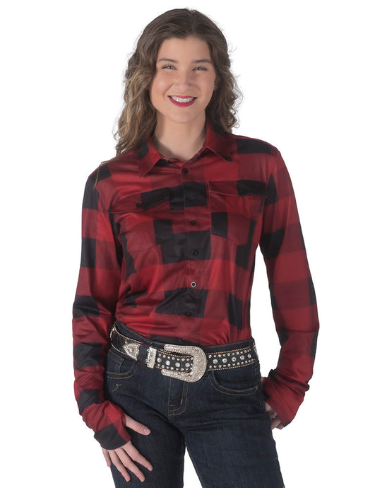 Cowgirl Tuff Buffalo Plaid Jersey Pullover Button-Up (Black/Red)