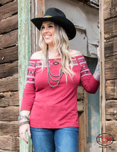 Red Lightweight Jersey Blouse With Aztec Embroidery