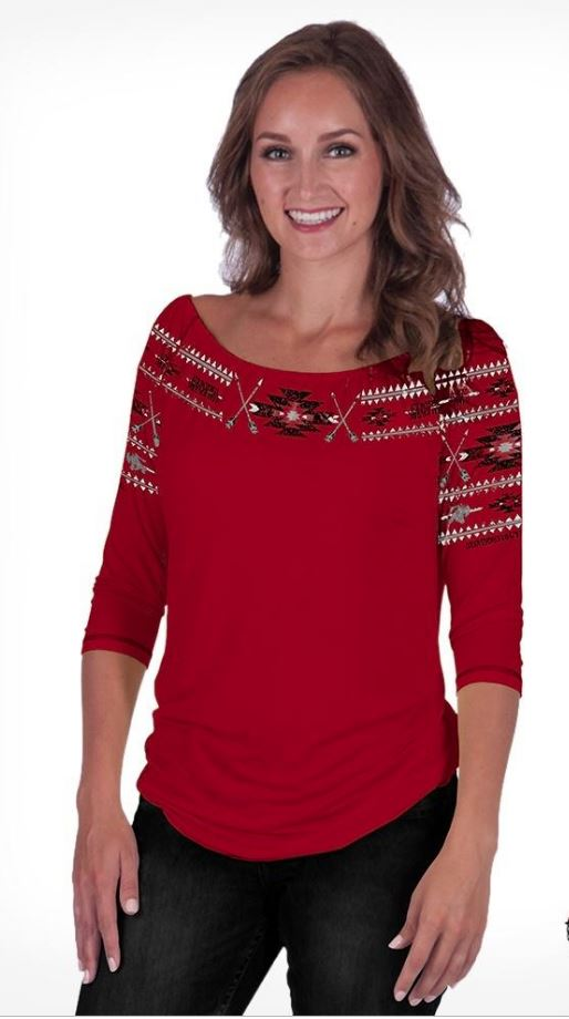 Cowgirl Tuff Red Lightweight Jersey Blouse With Aztec Embroidery