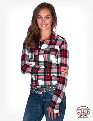 Cowgirl Tuff Red Plaid Sport Jersey Pullover Button Up