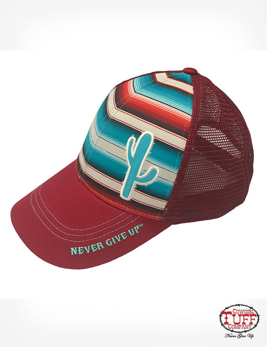 Cowgirl Tuff Red Serape Trucker Cap With Cactus Patch
