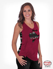 Cowgirl Tuff Red Slub And Lux Athletic Serape Jersey Racerback Tank With Buckin' Horse Patch
