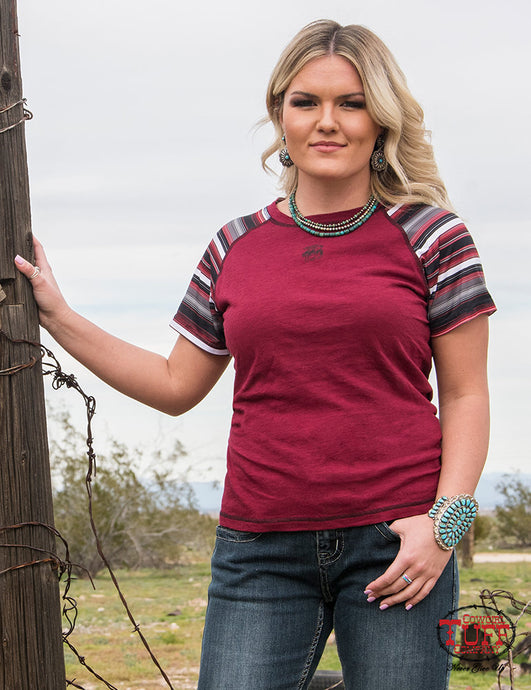Cowgirl Tuff Red Slub And Lux Athletic Serape Jersey Raglan Tee With Small Buckin' Horse Chest Print