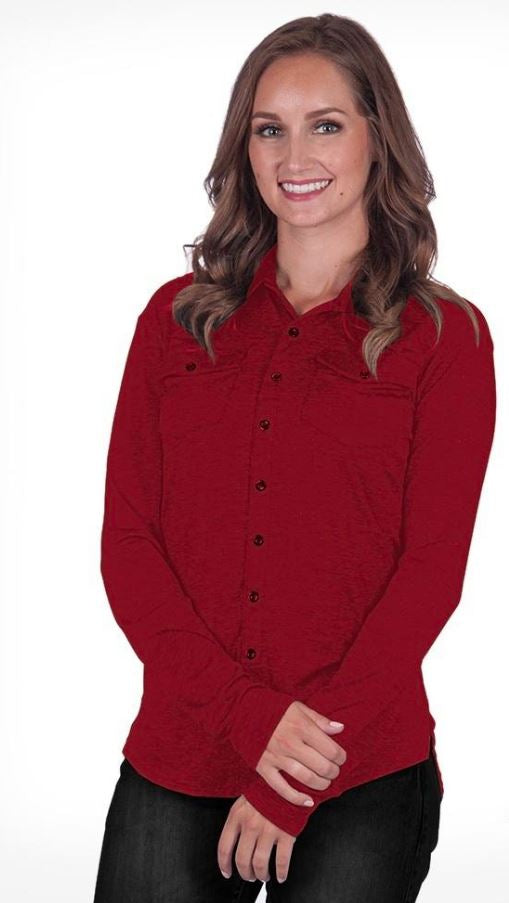 Red Slub Sport Jersey Pullover Button-Up