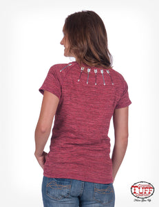 Red Tee With Arrow Embroidery