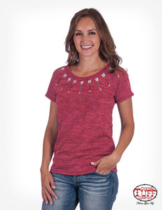 Cowgirl Tuff Red Tee With Arrow Embroidery