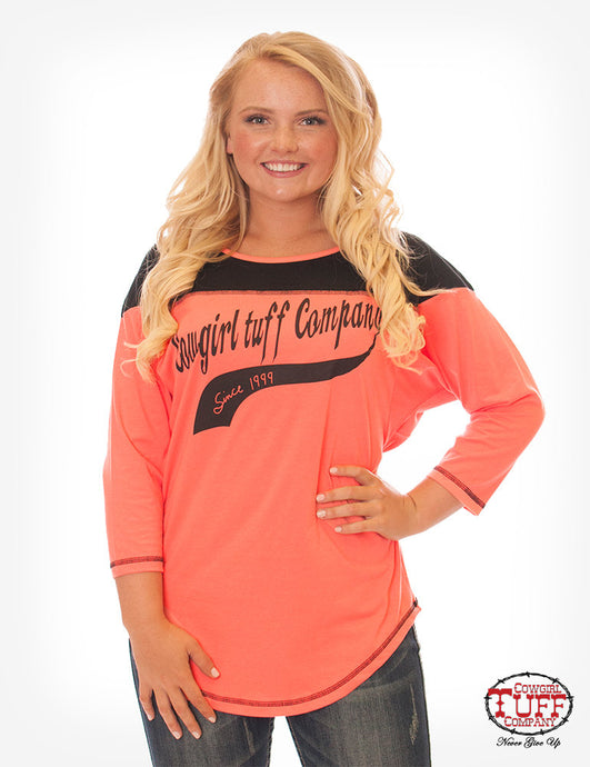 Cowgirl Tuff Relaxed Hot Coral And Black Tee With 3/4 Sleeve And CTC Print