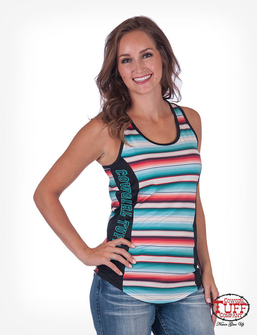 Cowgirl Tuff Serape And Black Lux Athletic Jersey Racerback Tank