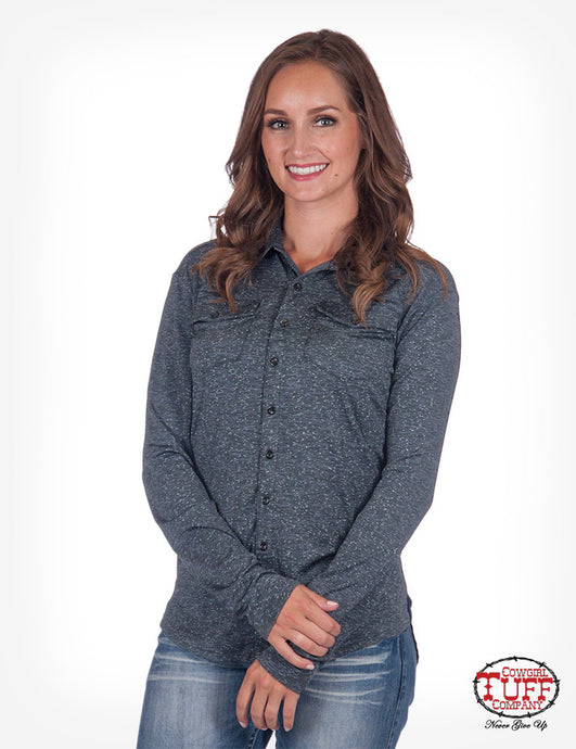 Cowgirl Tuff Lux Athletic Charcoal Jersey Slub Pullover Button-Up