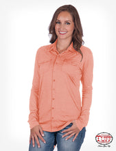 Cowgirl Tuff Sport Lux Athletic Coral Jersey Faux Button-Down