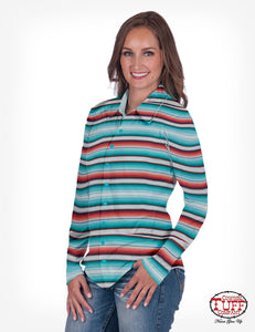 Cowgirl Tuff Sport Lux Athletic Serape Jersey Faux Button-Down