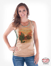 Cowgirl Tuff Tan And Coral Aztec Racerback Tank With Desert Graphic
